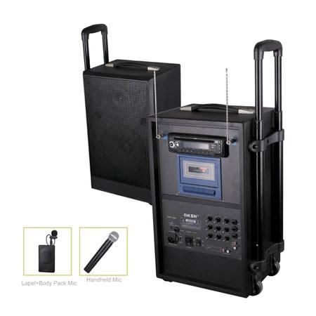 内置6v 7ah可充电电池, 功放板采用双面贴片电路, 音频信号输入扩音